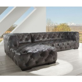 Manhatton Vintage Grey Leather LAF Sectional