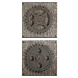 Rustic Gears Wall Art Set of 2