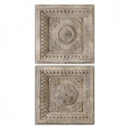 Auronzo Aged Ivory Squares Set of 2