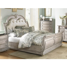 Palace II White Wash Queen Bonded Leather Sleigh Bed