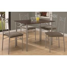 1020 Cappuccino / Silver Metal 5Pcs Dining Set