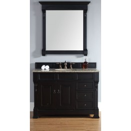 "Brookfield 48"" Antique Black Single Vanity With 2Cm Santa Cecilia Granite Top"