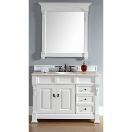 "Brookfield 48"" Cottage White Single Vanity With 2Cm Galala Beige Marble Top"