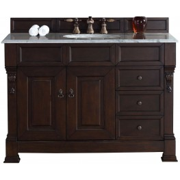 "Brookfield 48"" Burnished Mahogany Single Vanity With 2Cm Carerra White Marble Top"
