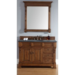 "Brookfield 48"" Country Oak Single Vanity With 2Cm Black Granite Top"
