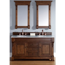 "Brookfield 60"" Country Oak Double Vanity With 2Cm Carerra White Marble Top"