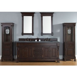"Brookfield 72"" Burnished Mahogany Double 2CM Top Vanity Set"