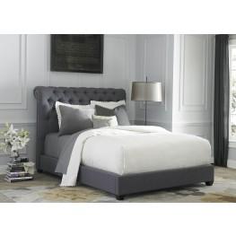 Dark Gray Upholstered Queen Sleigh Bed