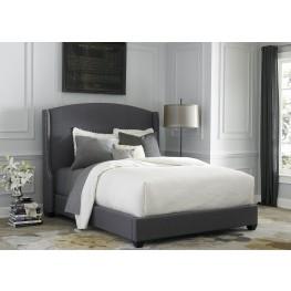 Dark Gray Upholstered Queen Shelter Bed