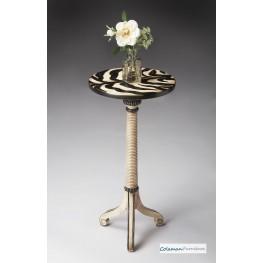 Zebra Strip Pedestal Table