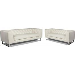 Porto White Leather Living Room Set