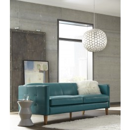 Miami Teal Leather Sofa