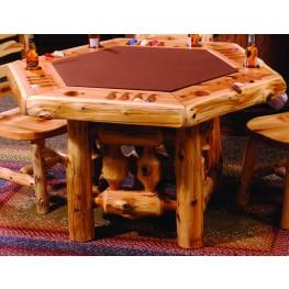 Cedar Log Framework Base 6 Sided Poker Table
