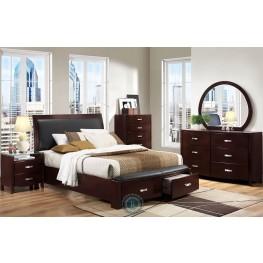 Lyric Espresso Sleigh Storage Bedroom Set