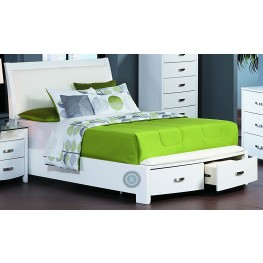 Lyric White Cal. King Sleigh Storage Bed