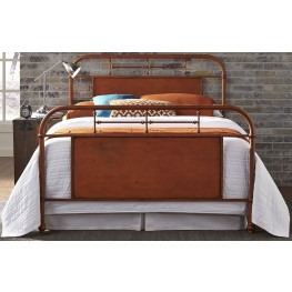 Vintage Distressed Orange Twin Metal Bed