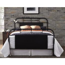 Vintage Distressed Black Full Metal Bed