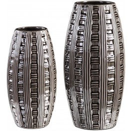 Aura Gray Weave Pattern Vases Set of 2