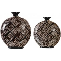 Kelda Black Ceramic Vases Set of 2