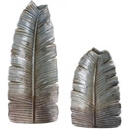 Invano Leaf Gray Vase Set of 2