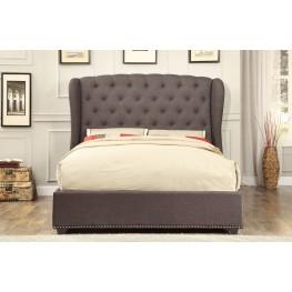 Chardon Dark Grey Fabric Full Platform Bed