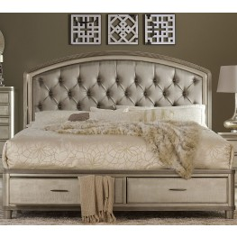 Tandie Champagne Queen Upholstered Platform Bed