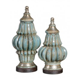 Fatima Sky Blue Decorative Urns, Set of 2