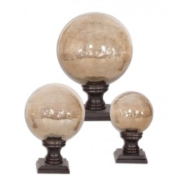 Lamya Glass Globe Finials, Set of 3