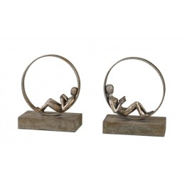 Lounging Reader Antique Bookends Set of 2