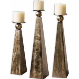 Cesano Bronze Candleholders, Set of 3