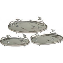 Birds On A Limb Mirrored Trays, Set of 3
