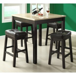1135 Cappuccino / Beige Faux Marble 5 Piece Counter Dining Set