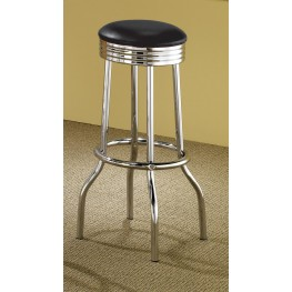 Soda Fountain Barstool with Black Cushion Set of 2