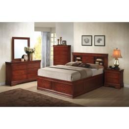 Louis Philippe Cherry Storage Bedroom Set