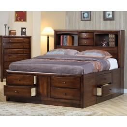 Hillary Walnut Queen Bookcase Storage Bed