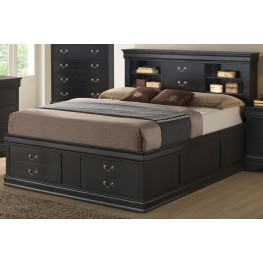 Louis Philippe Black King Storage Bed