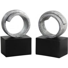 Twist Modern Silver Bookends Set of 2