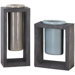 Pio Industrial Gray Ceramic Vases Set of 2