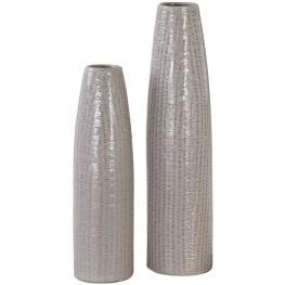 Sara Textured Ceramic Vase Gray Set of 2