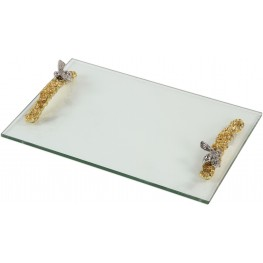 Hive Gold Glass Tray