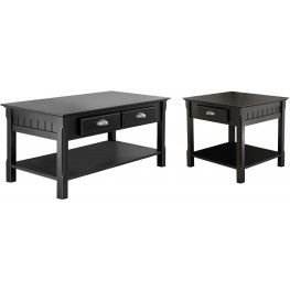 Timber Black 2 Drawer Occasional Table Set