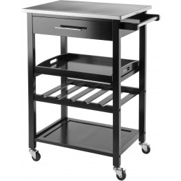 Anthony Black Stainless Steel Kitchen Cart