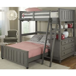 Lake House Stone Twin Loft Bed with Full Lower Bed