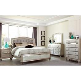 Bling Game Metallic Platinum Panel Bedroom Set