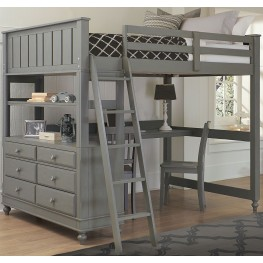 Lake House Stone Full Loft Bed with Desk