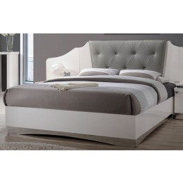 Alessandro Glossy White Queen Platform Bed