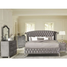 Deanna Grey Upholstered Platform Bedroom Set