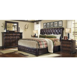 Whiskey Barrel Oak Upholstered Platform Bedroom Set
