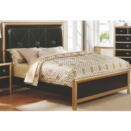 Zovatto Black and Golden Queen Upholstered Platform Bed