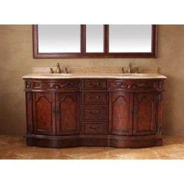 "Amalfi 72"" Cherry Double Vanity With Travertine Top"